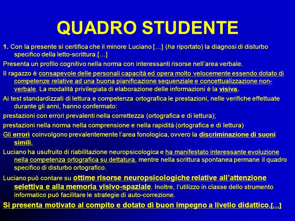 QUADRO STUDENTE1. Con la presente si certifica che il minore Luciano […] (ha riportato) la diagnosi di disturbo specifico della letto-scrittura.[…]